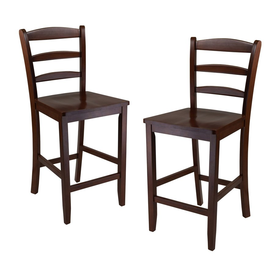 Winsome Wood Set of 2 Casual Antique Walnut Counter Stools