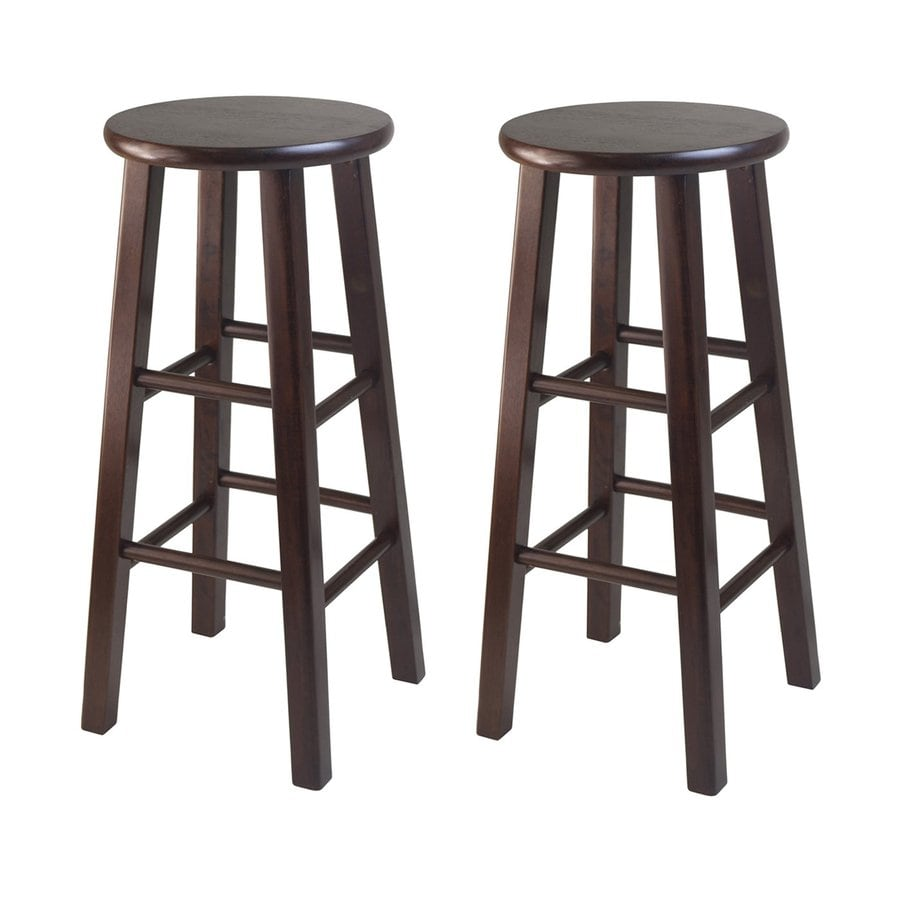 Winsome Wood Set of 2 Antique Walnut 29-in Bar Stools