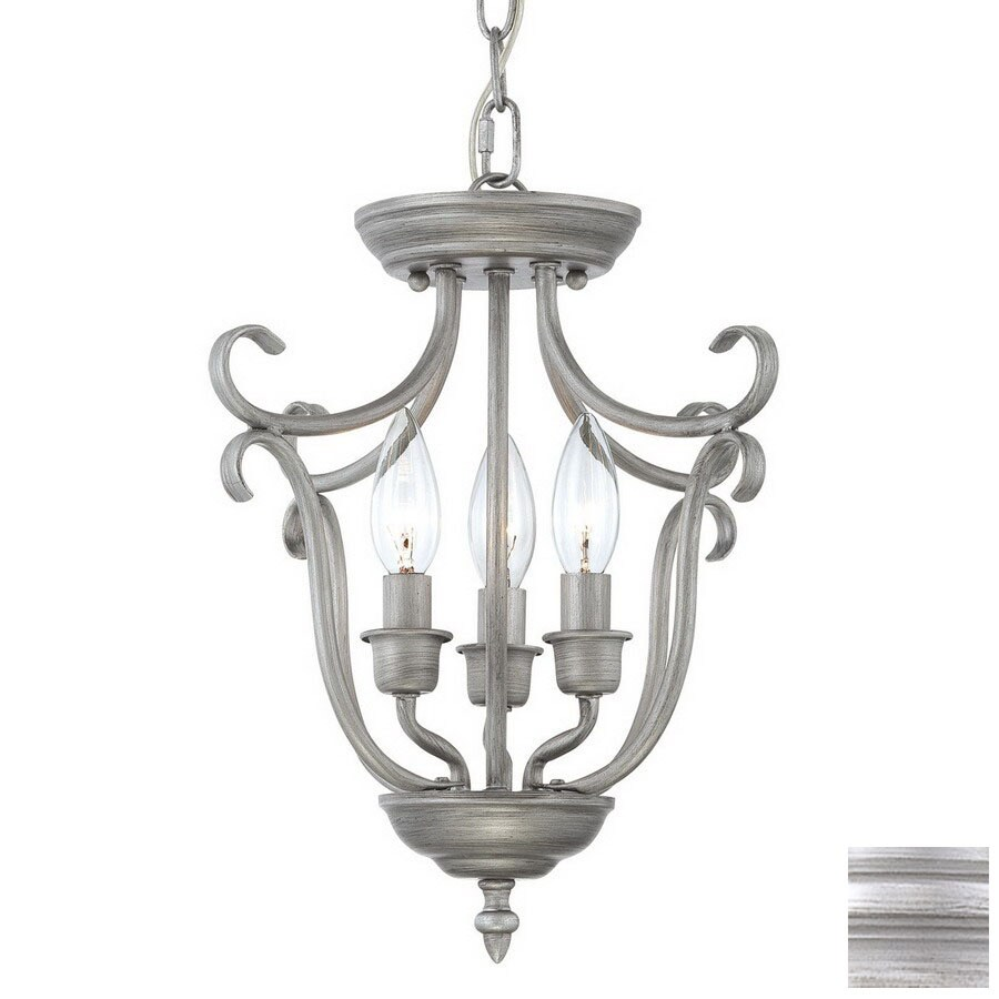 Millennium Lighting Fulton 13-in Rubbed Silver Vintage Single Cage Pendant