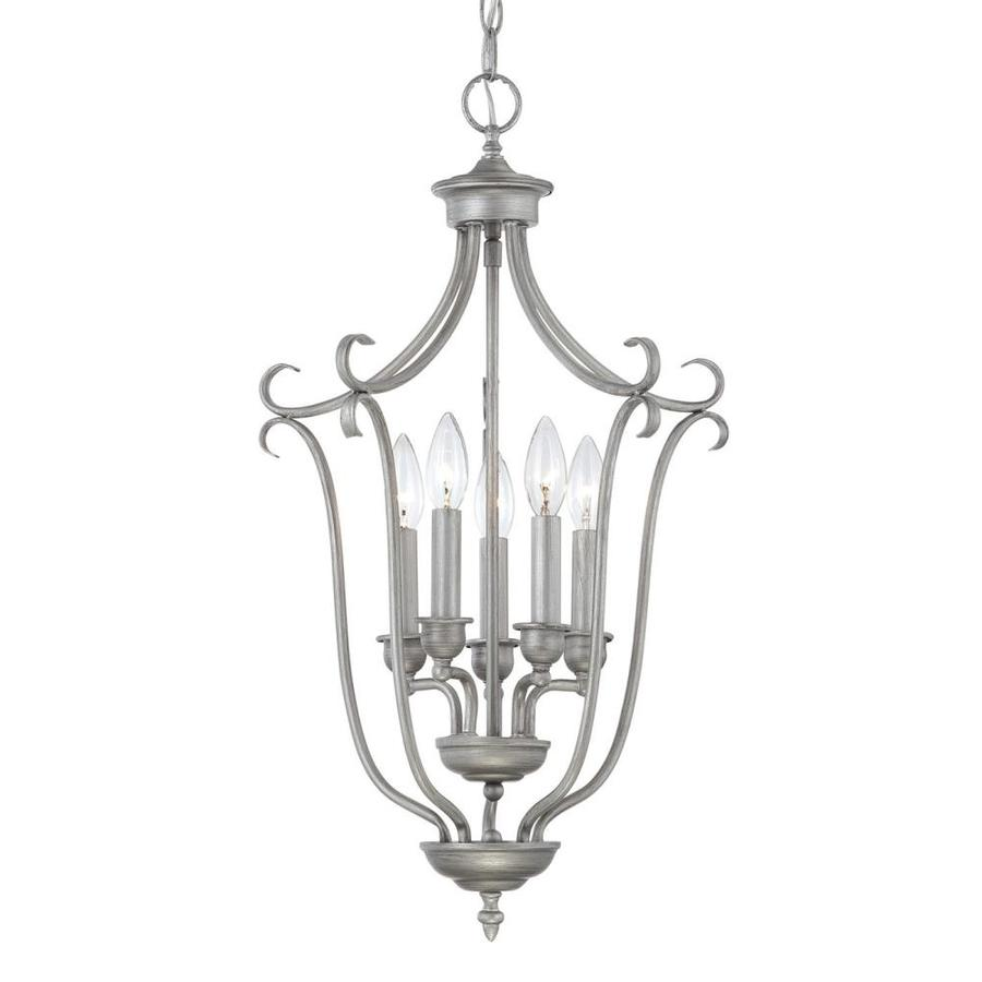Millennium Lighting Fulton 27-in Rubbed Silver Vintage Single Cage Pendant