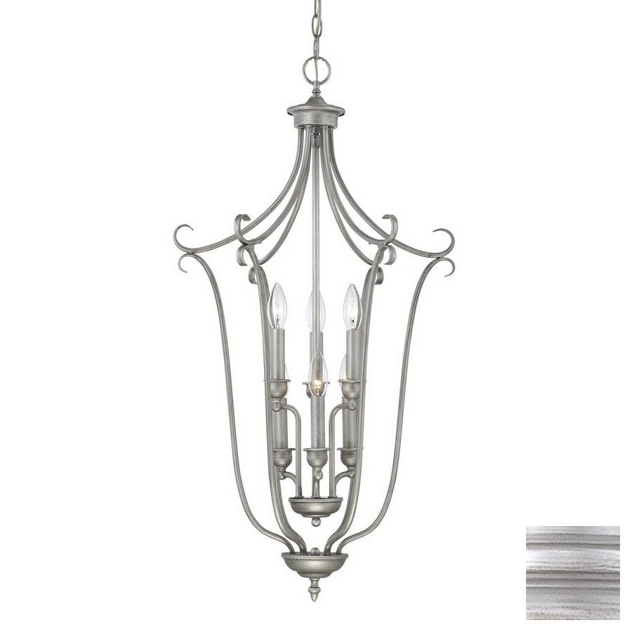 Millennium Lighting Fulton 34-in Rubbed Silver Vintage Single Cage Pendant