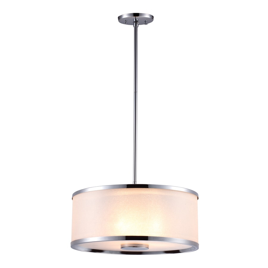 DVI Milan 16-in Chrome Wrought Iron Single Tinted Glass Drum Pendant