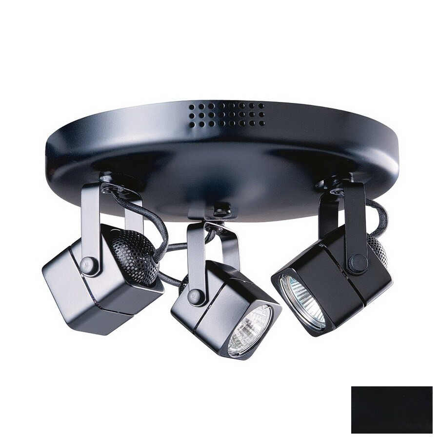 kendal lighting 3 light 11 in black flush mount fixed track light kit