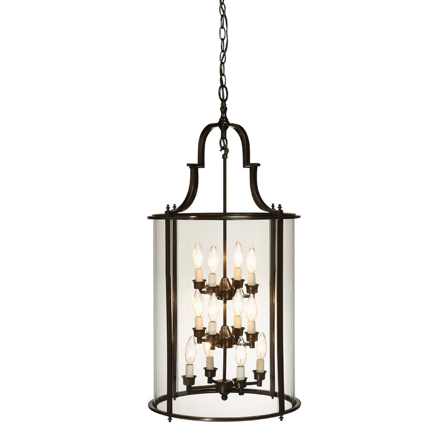 Artcraft Lighting Manor 20-in Oil-Rubbed Bronze Single Clear Glass Lantern Pendant