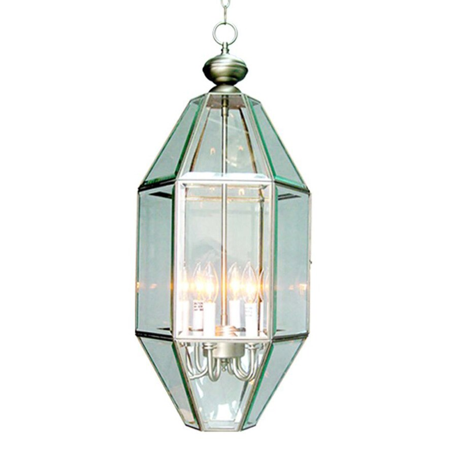 Volume International 13-in Brushed Nickel Coastal Single Clear Glass Lantern Pendant