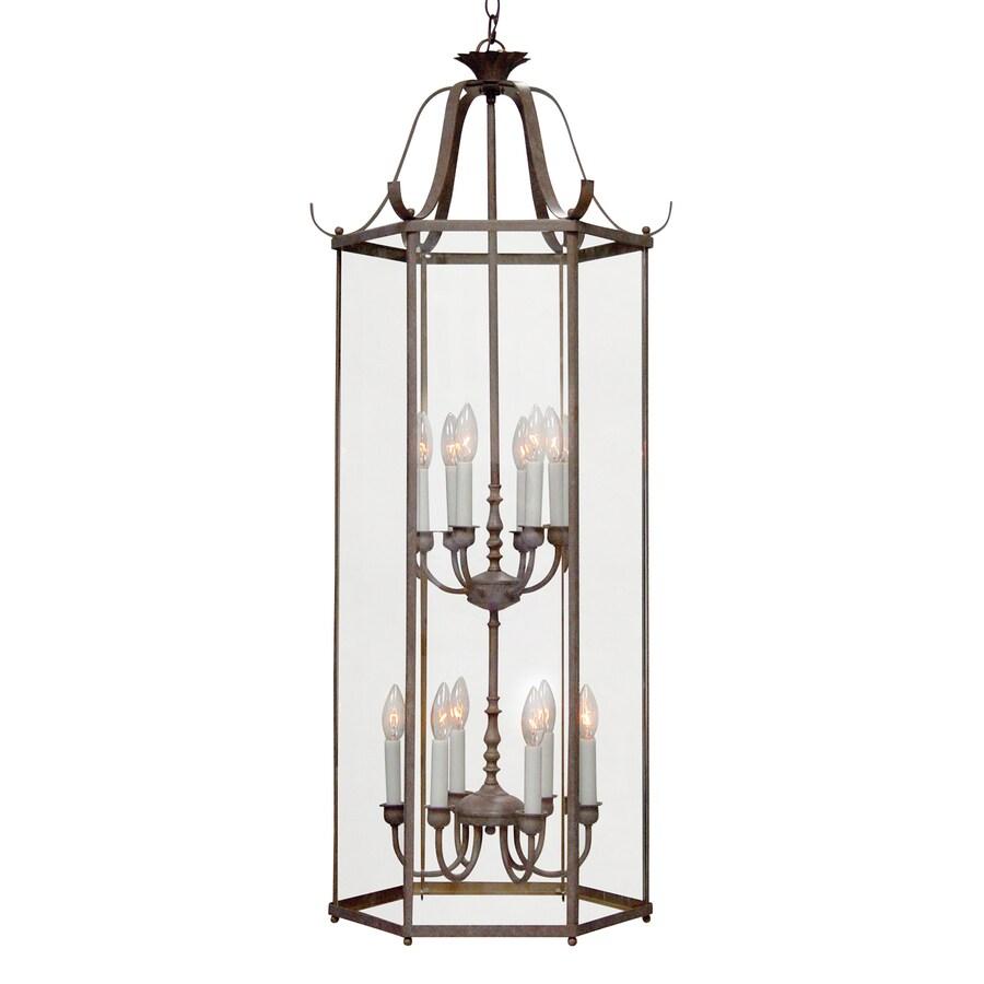 Volume International 19-in Prairie Rock Vintage Single Clear Glass Lantern Pendant