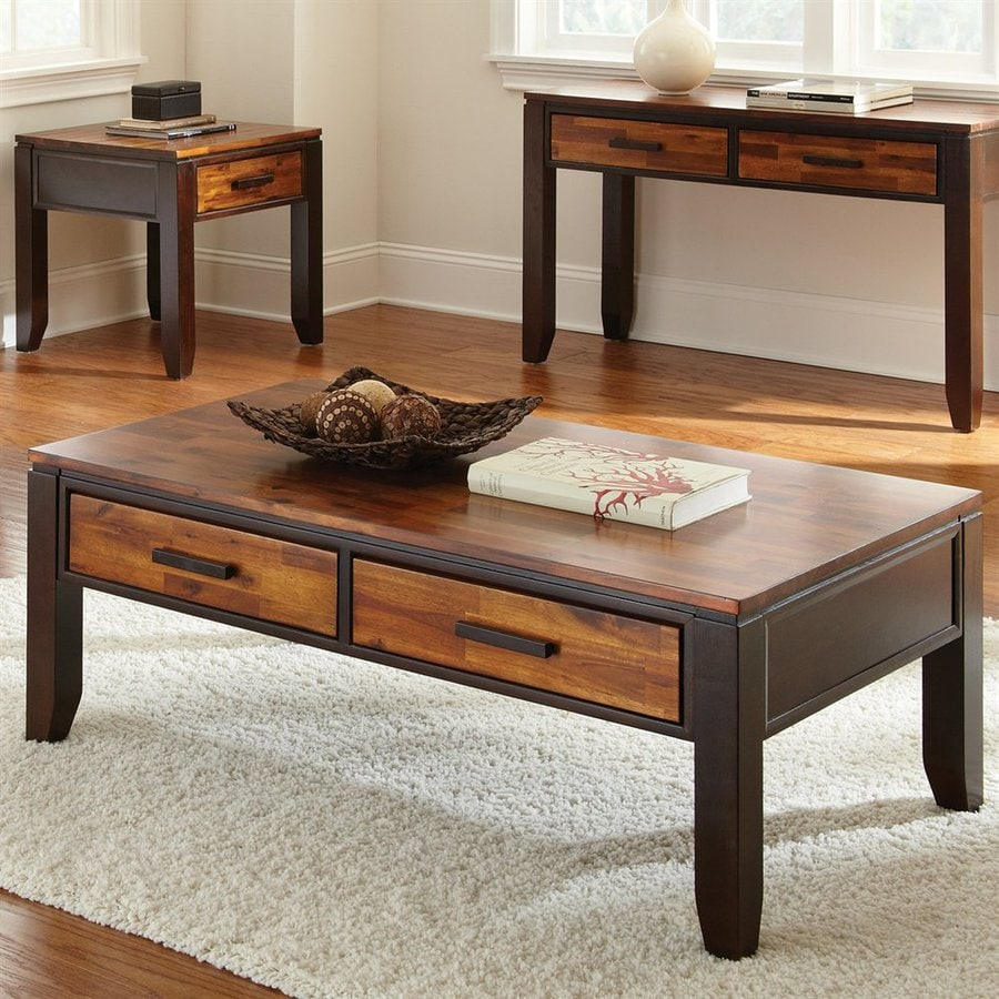 Shop steve silver company abaco two tone cordovan cherry acacia coffee table at Coffee table cherry
