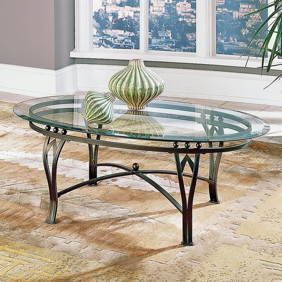 Steve Silver Company Madrid Weathered Pewter With Green Patina Oval Coffee  Table