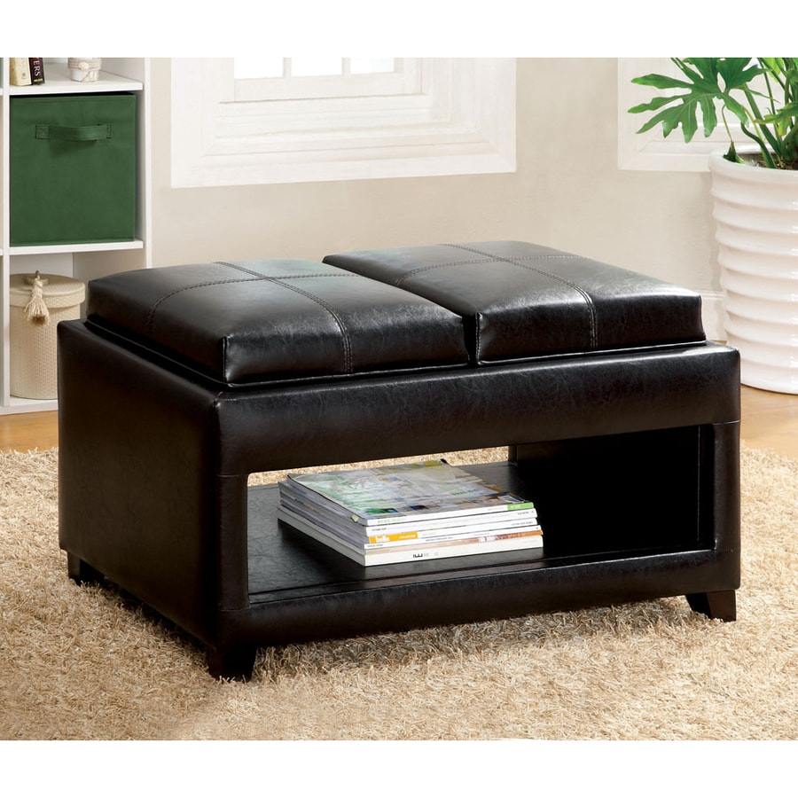Furniture Of America Ely Espresso Asian Hardwood Faux Leather Coffee Table