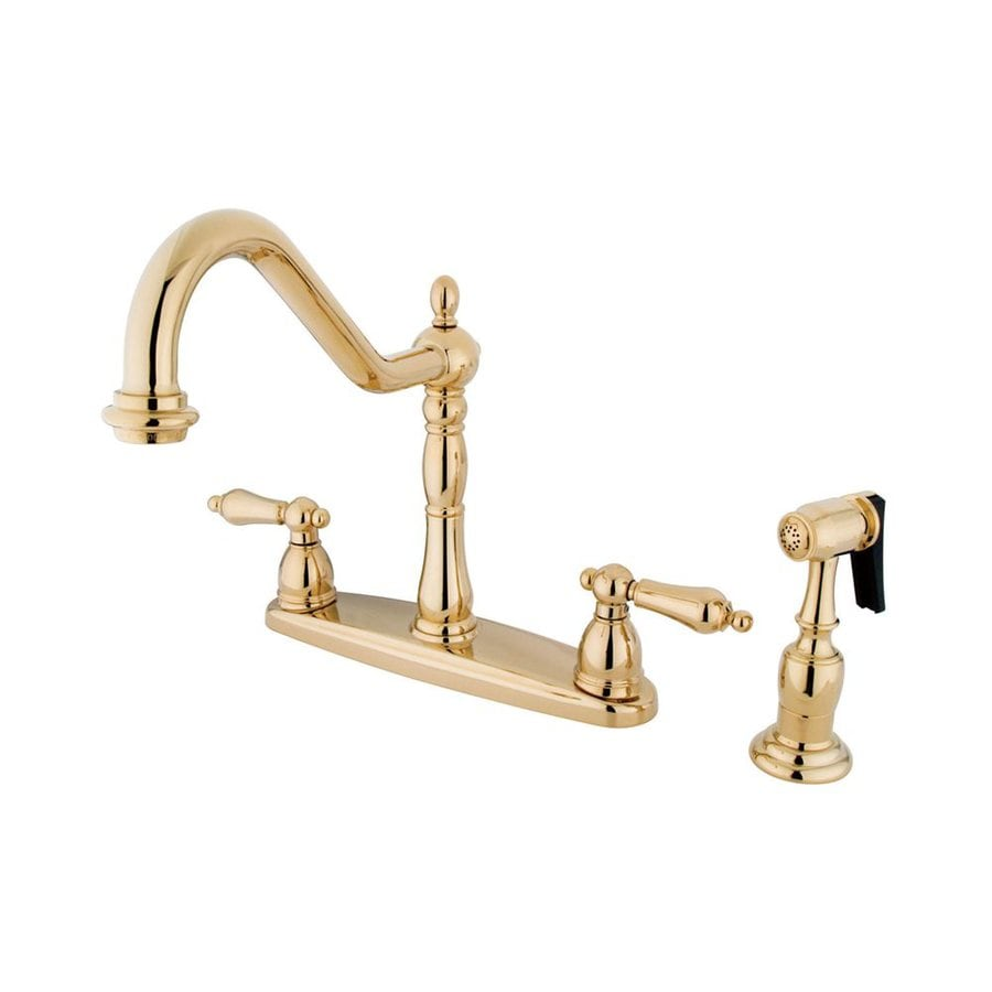 Elements of Design New Orleans Polished Brass 2-Handle High-Arc Sink/Counter Mount Kitchen Faucet with Side Spray