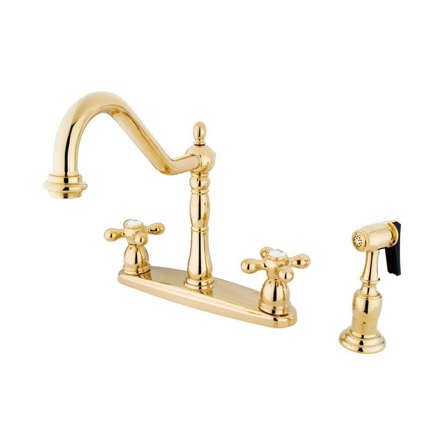 Elements of Design New Orleans Polished Brass 2-Handle High-Arc Kitchen Faucet with Side Spray