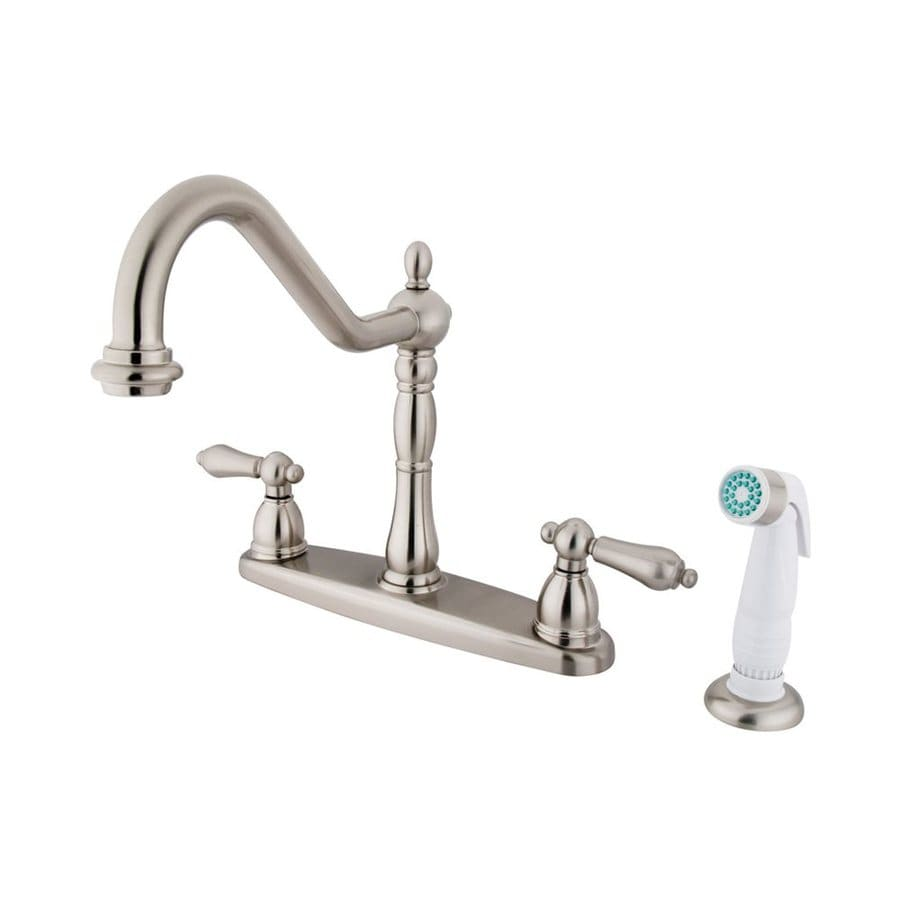 Elements of Design Heritage Satin Nickel 2-Handle High-Arc Sink/Counter Mount Kitchen Faucet with Side Spray