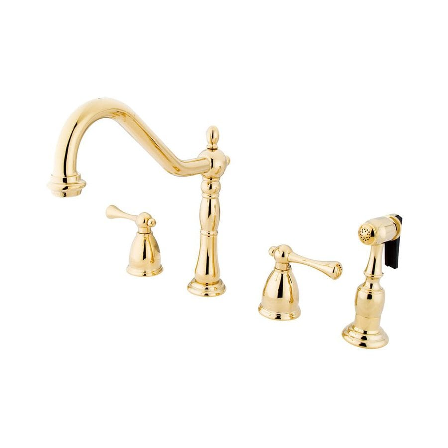 Elements of Design New Orleans Polished Brass 2-Handle High-Arc Kitchen Faucet
