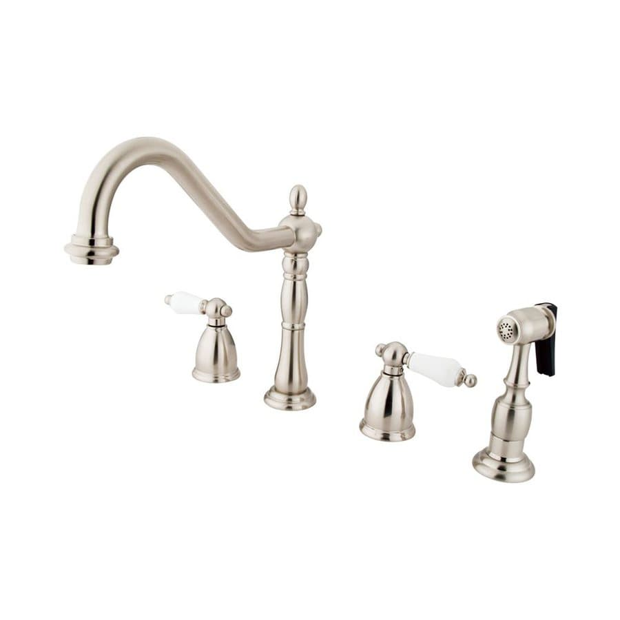 Elements of Design New Orleans Satin Nickel 2-Handle Deck Mount Bridge Bar and Prep Faucet