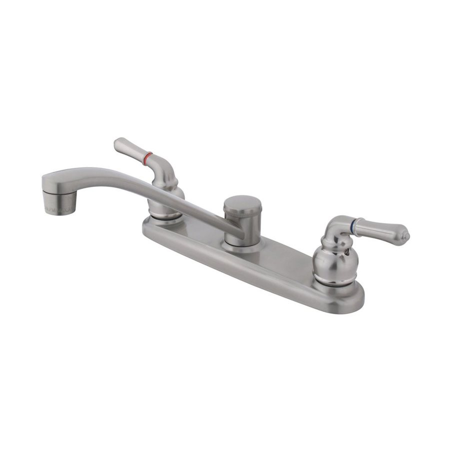 Elements of Design Magellan Satin Nickel 2-Handle Low-Arc Sink/Counter Mount Kitchen Faucet