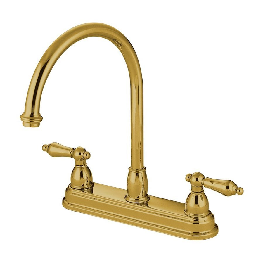 Elements of Design Chicago Polished Brass 2-Handle Deck Mount High-Arc Kitchen Faucet