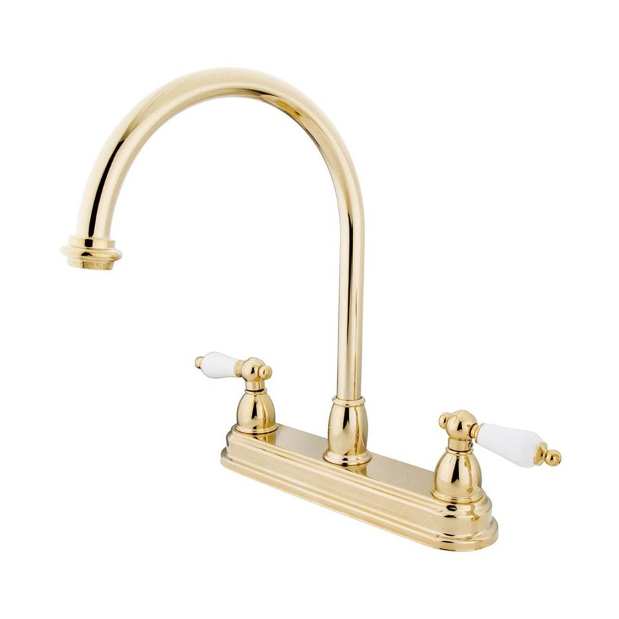 Elements of Design Chicago Polished Brass 2-Handle High-Arc Sink/Counter Mount Kitchen Faucet