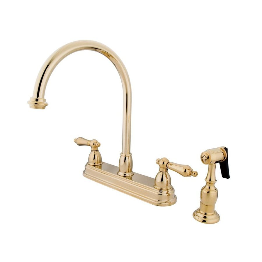 Elements of Design Chicago Polished Brass 2-Handle High-Arc Sink/Counter Mount Kitchen Faucet with Side Spray