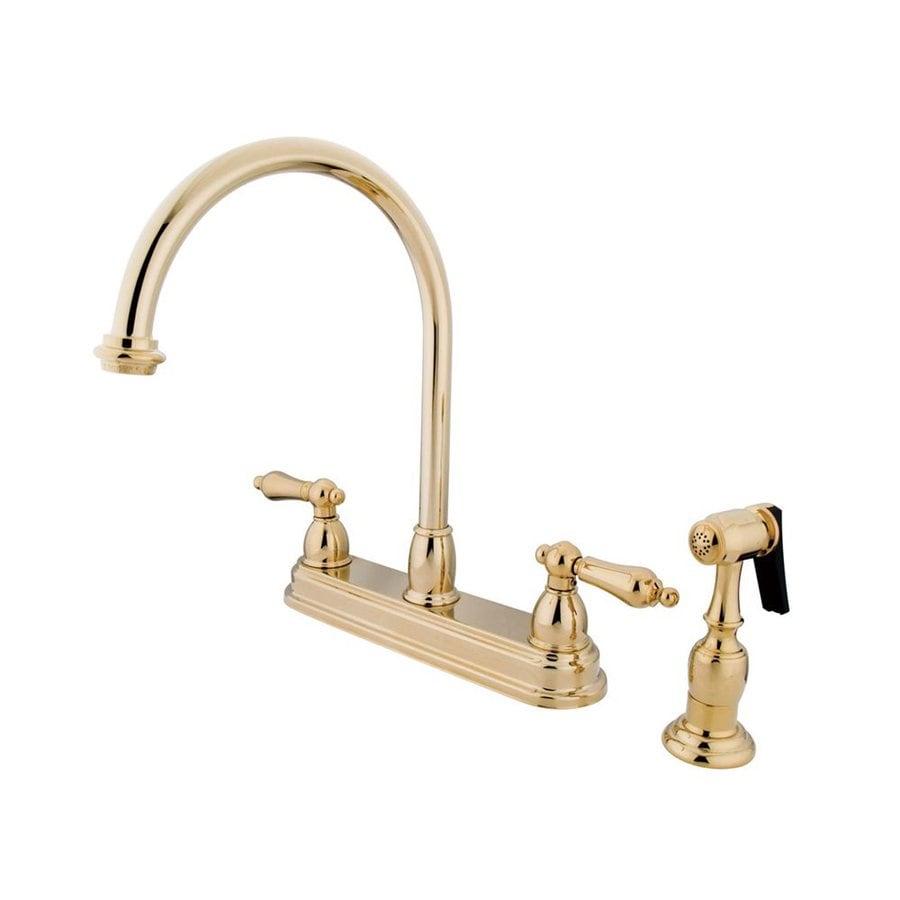 Elements of Design Chicago Polished Brass 2-Handle Deck Mount High-Arc Kitchen Faucet