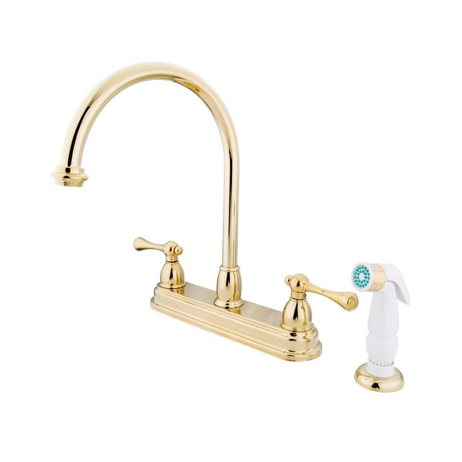 Elements of Design St. Louis Polished Brass 2-Handle High-Arc Kitchen Faucet with Side Spray