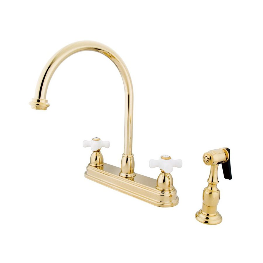 Elements of Design Chicago Polished Brass 2-Handle High-Arc Kitchen Faucet with Side Spray