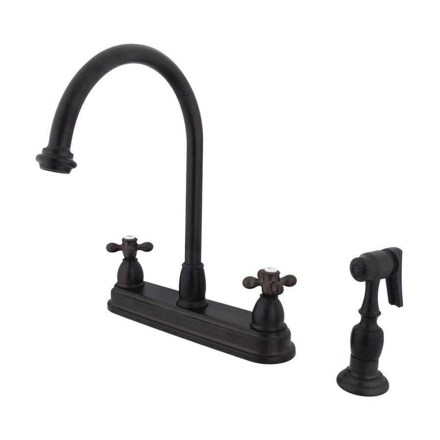 Elements of Design Chicago Oil-Rubbed Bronze 2-Handle High-Arc Sink/Counter Mount Kitchen Faucet with Side Spray
