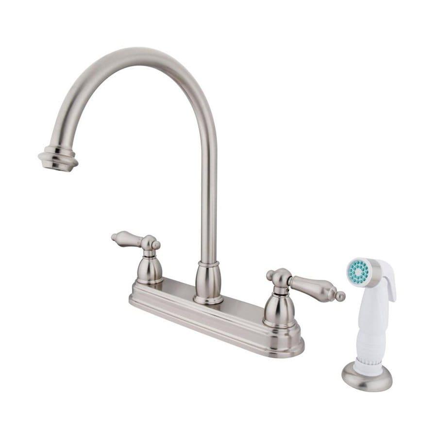 Elements of Design Chicago Satin Nickel 2-Handle Deck Mount High-Arc Kitchen Faucet