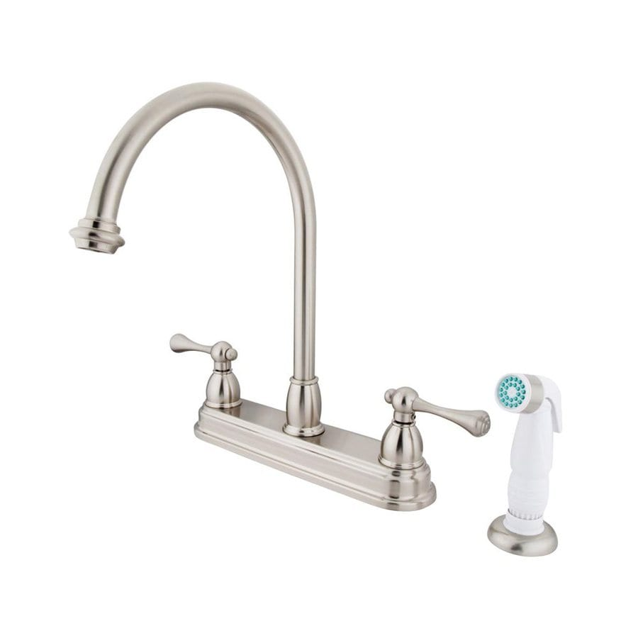 Shop Elements Of Design St Louis Satin Nickel 2 Handle Deck Mount High Arc Kitchen Faucet At