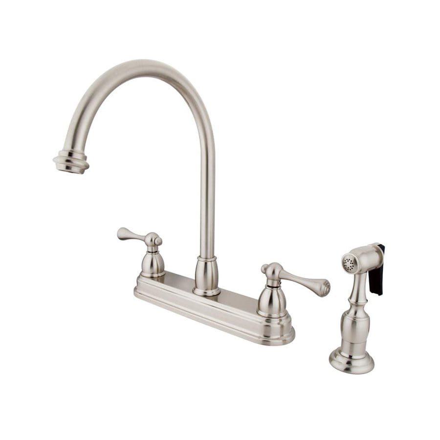 Elements of Design St. Louis Satin Nickel 2-Handle High-Arc Sink/Counter Mount Kitchen Faucet with Side Spray
