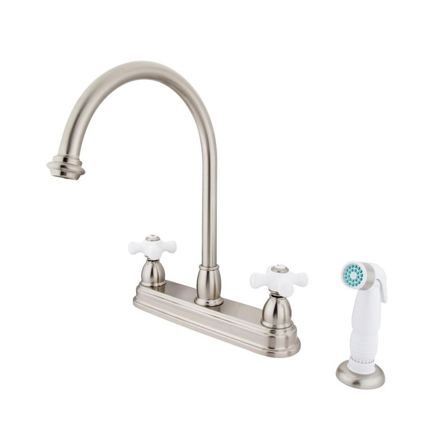 Elements of Design Chicago Satin Nickel 2-Handle Deck Mount High-Arc Kitchen Faucet