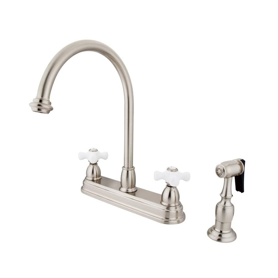 Elements of Design Chicago Satin Nickel 2-Handle High-Arc Sink/Counter Mount Kitchen Faucet with Side Spray