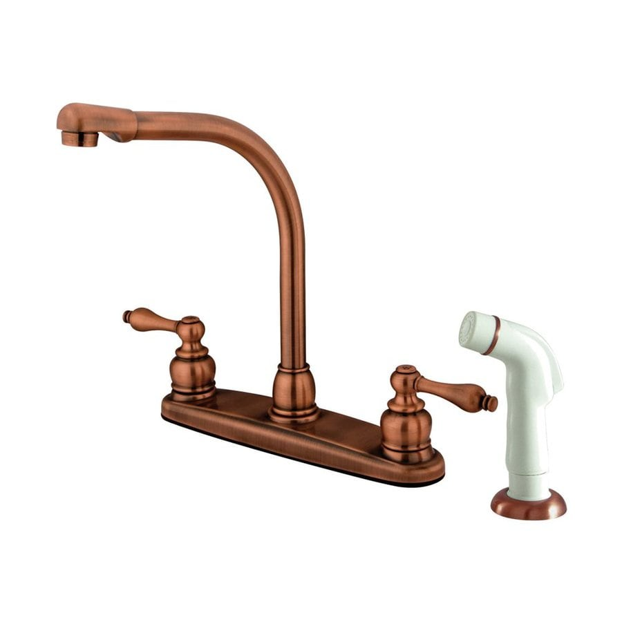 Elements of Design Victorian Antique Copper 2-Handle Deck Mount High-Arc Kitchen Faucet