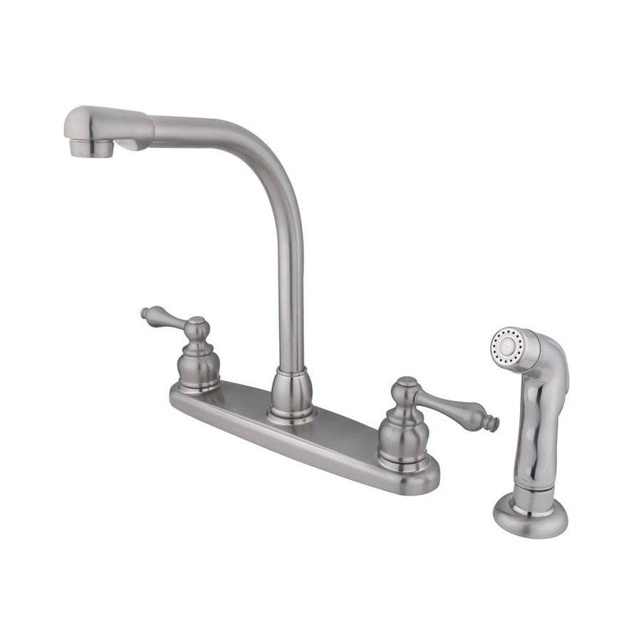 Elements of Design Victorian Satin Nickel 2-Handle High-Arc Kitchen Faucet