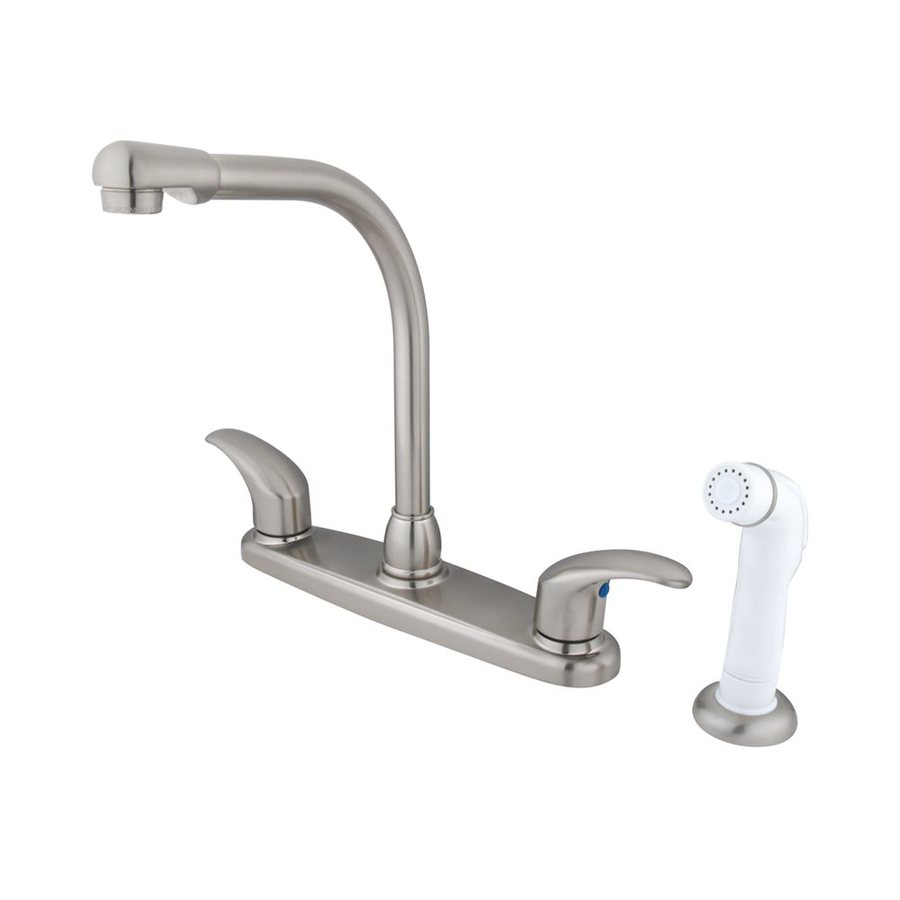 Elements of Design Daytona Satin Nickel 2-Handle Deck Mount High-Arc Kitchen Faucet