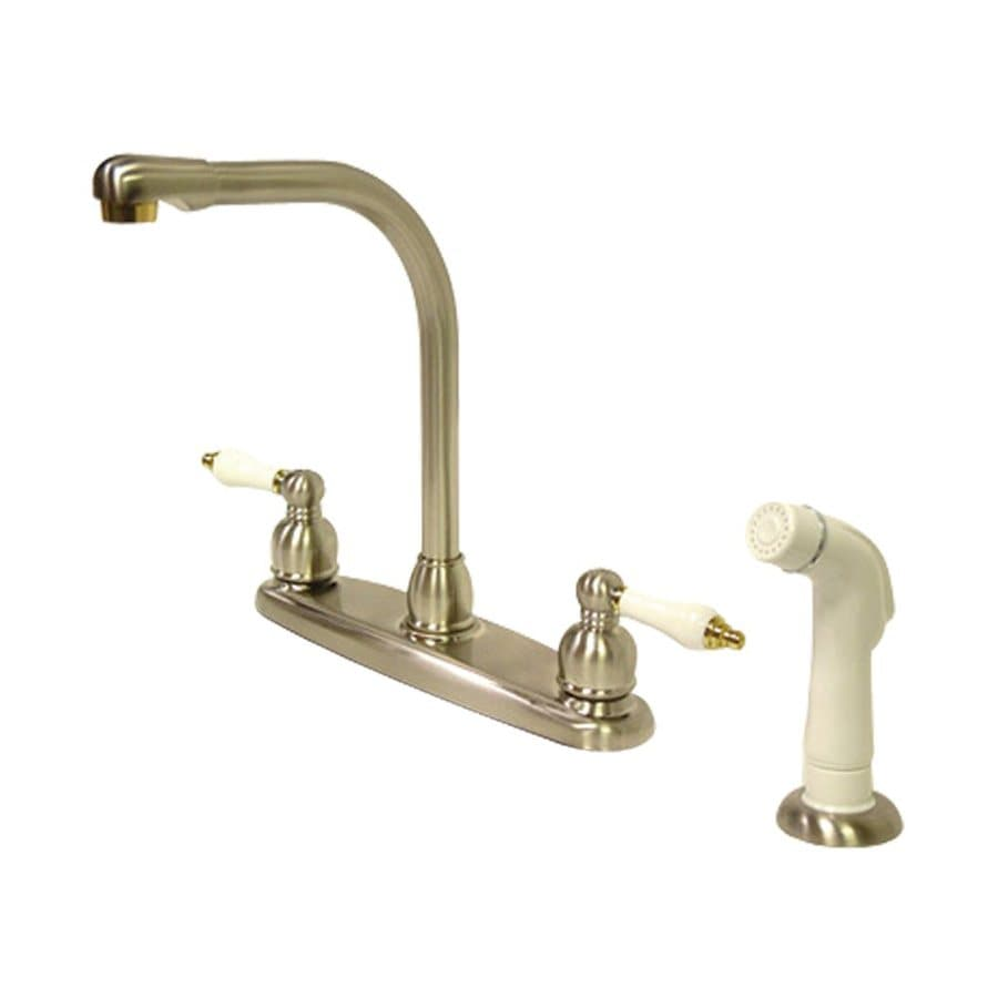 Elements of Design Victorian Satin Nickel/Polished Brass 2-Handle High-Arc Kitchen Faucet