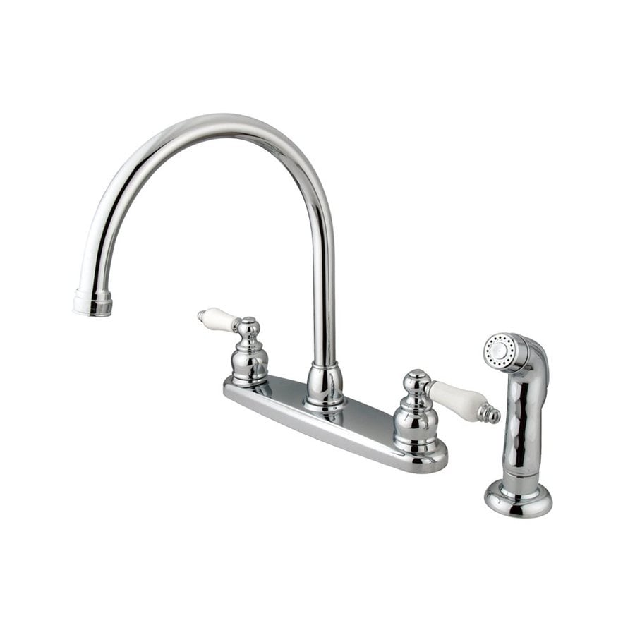 Elements of Design Victorian Chrome 2-Handle Deck Mount High-Arc Kitchen Faucet