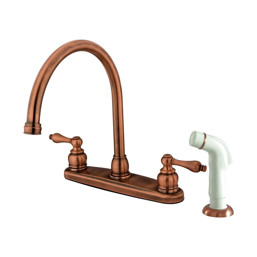 Elements of Design Victorian Antique Copper 2-Handle High-Arc Sink/Counter Mount Kitchen Faucet with Side Spray