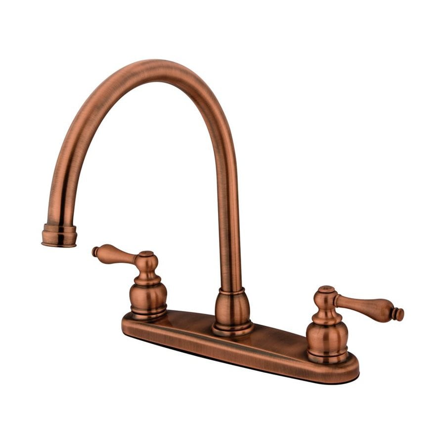 Elements of Design Victorian Antique Copper 2-Handle High-Arc Kitchen Faucet