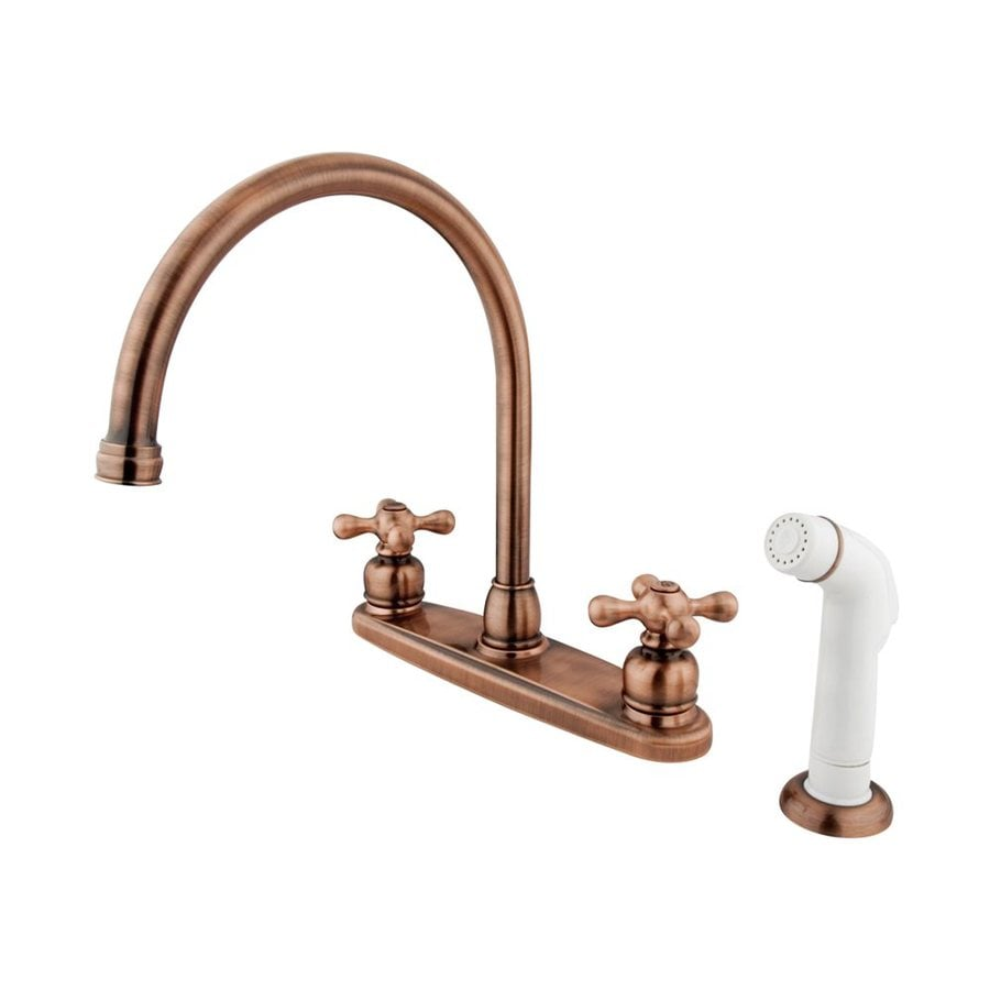 Shop Elements Of Design Victorian Antique Copper 2 Handle High Arc Kitchen Faucet At Lowes Com