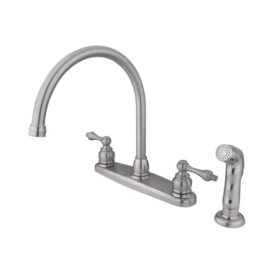 Elements of Design Victorian Satin Nickel 2-Handle Deck Mount High-Arc Kitchen Faucet