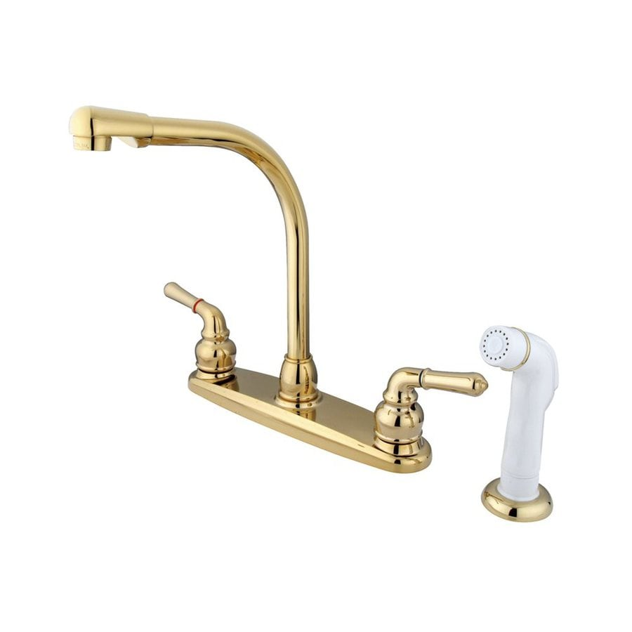 Elements of Design Magellan Polished Brass 2-Handle High-Arc Kitchen Faucet