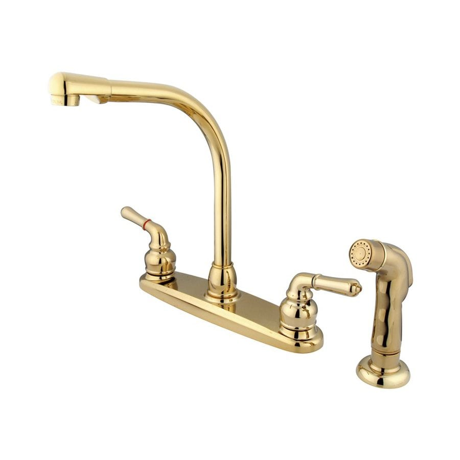 Elements of Design Magellan Polished Brass 2-Handle High-Arc Sink/Counter Mount Kitchen Faucet with Side Spray