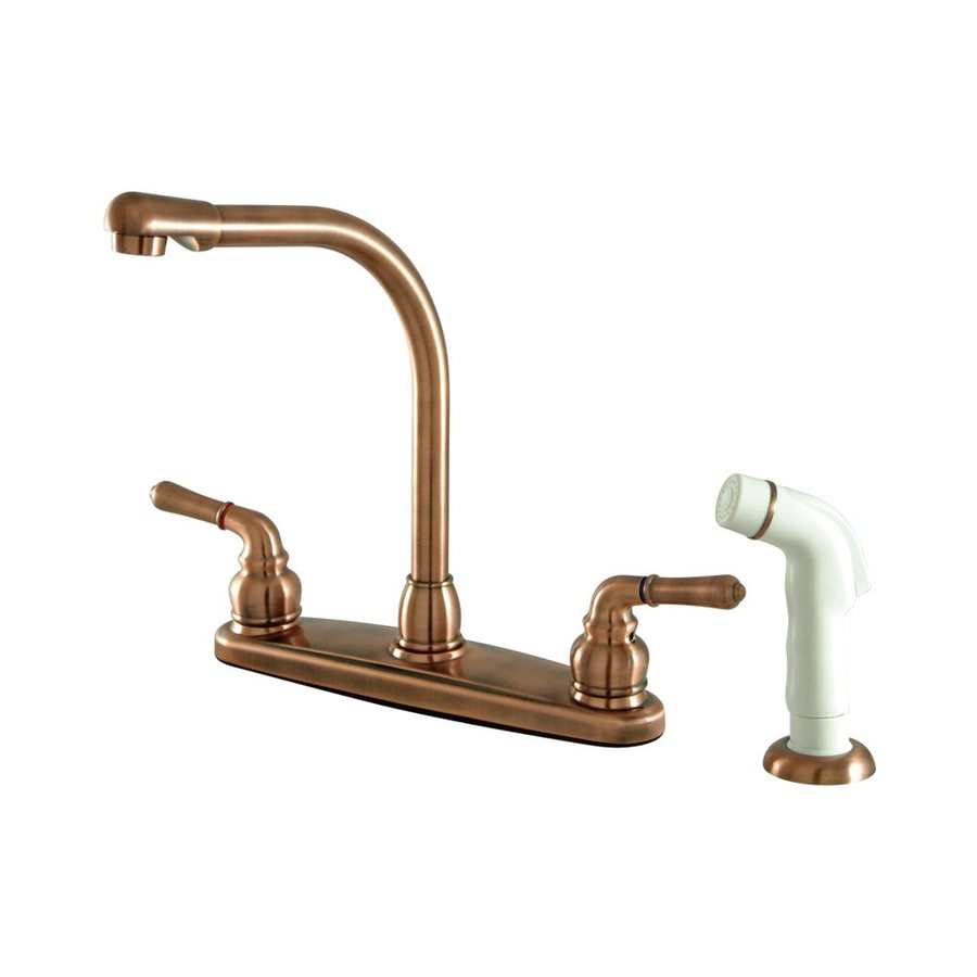 Elements of Design Magellan Antique Copper 2-Handle Deck Mount High-Arc Kitchen Faucet