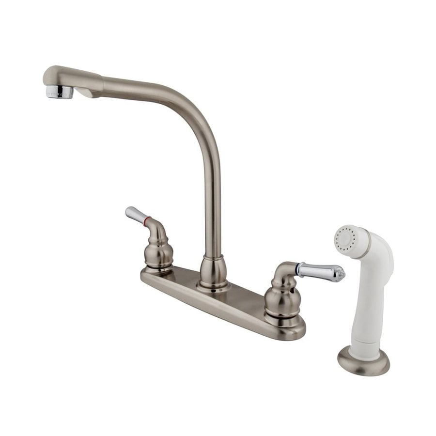 Shop Elements Of Design Magellan Satin Nickel Chrome 2 Handle High Arc Kitchen Faucet At