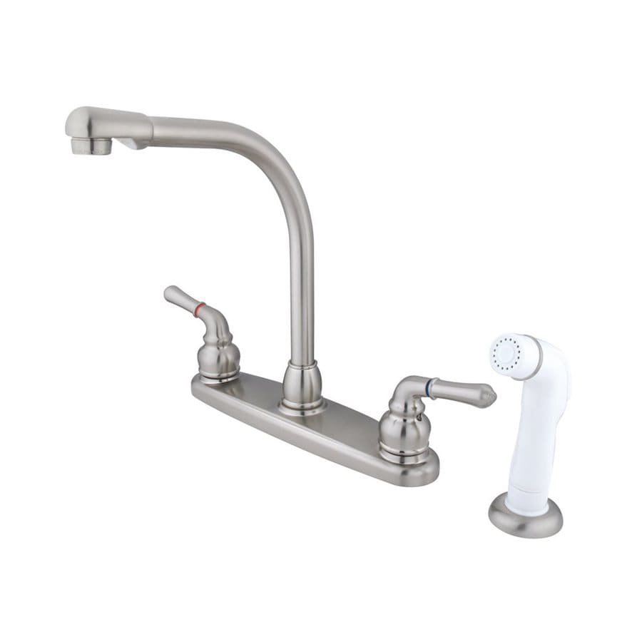 Elements of Design Magellan Satin Nickel 2-Handle High-Arc Sink/Counter Mount Kitchen Faucet with Side Spray
