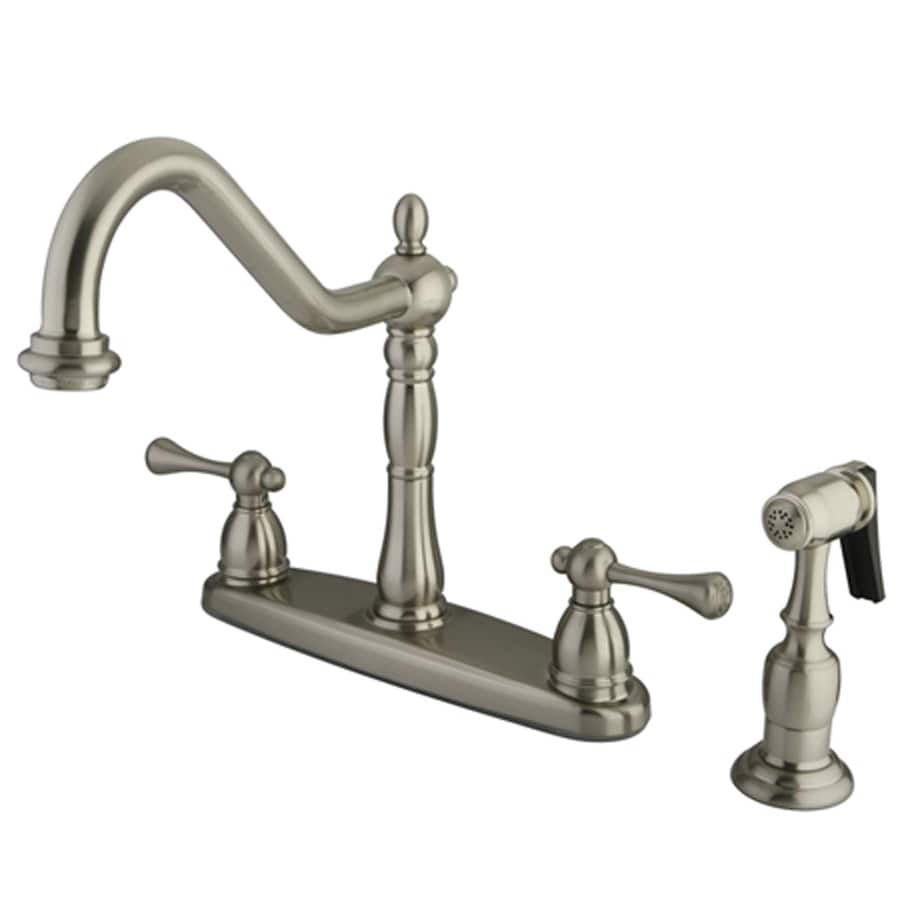 Elements of Design English Vintage Satin Nickel 2-Handle Deck Mount Bridge Kitchen Faucet
