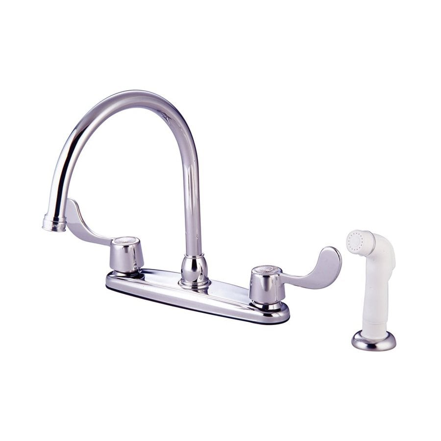 Elements of Design Chrome 2-Handle Deck Mount High-Arc Kitchen Faucet