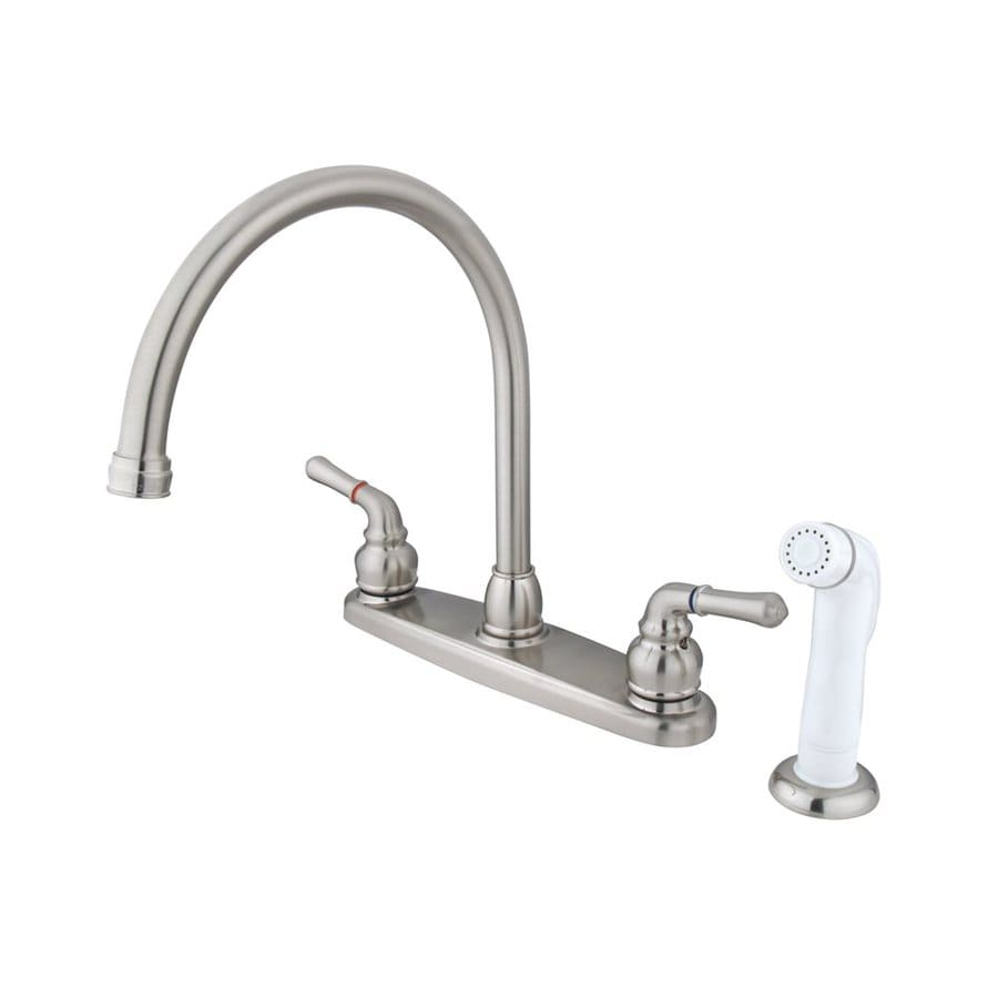 Elements of Design Magellan Satin Nickel 2-Handle High-Arc Kitchen Faucet with Side Spray