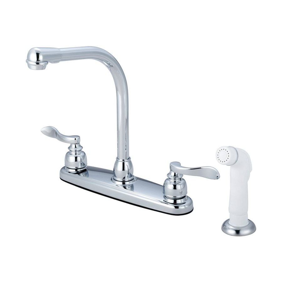 Elements of Design NuWave French Polished Chrome 2-Handle Deck Mount High-Arc Kitchen Faucet