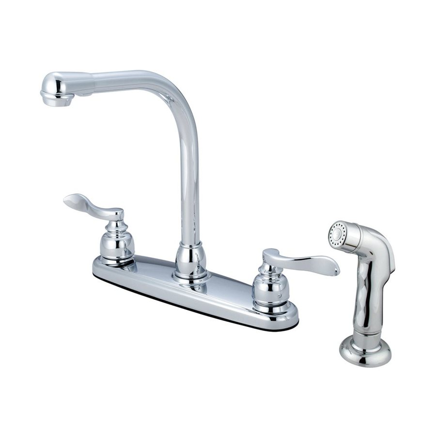 Elements of Design NuWave French Polished Chrome 2-Handle High-Arc Kitchen Faucet with Side Spray